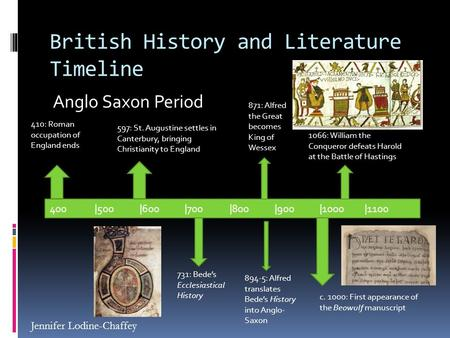 British History and Literature Timeline Anglo Saxon Period 400|500|600|700|800|900|1000|1100 410: Roman occupation of England ends 597: St. Augustine settles.