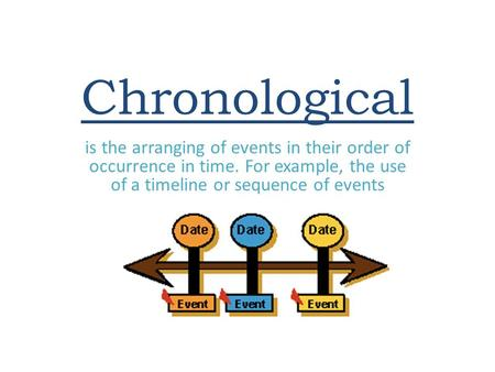 Chronological is the arranging of events in their order of occurrence in time. For example, the use of a timeline or sequence of events.