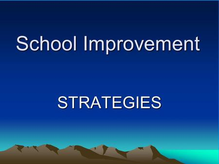 School Improvement STRATEGIES Build Relationships Administrative TeamAdministrative Team (Faculty, Students, Parents)