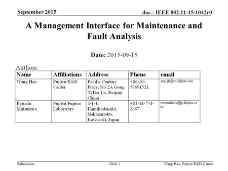Submission doc.: IEEE 802.11-15/1042r0 September 2015 Wang Hao, Fujitsu R&D Center A Management Interface for Maintenance and Fault Analysis Date: 2015-09-15.