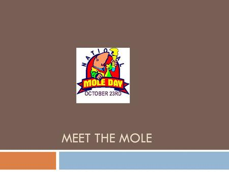 MEET THE MOLE. The Mole Avogadro's hypothesis suggests that we can compare the number of molecules in a gas sample. Even though we can't see them. A standard.