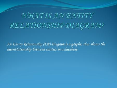 An Entity Relationship (ER) Diagram is a graphic that shows the interrelationship between entities in a database.