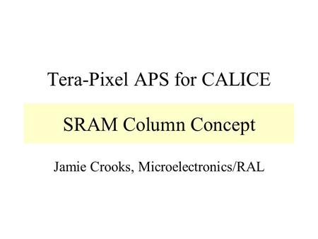 Tera-Pixel APS for CALICE Jamie Crooks, Microelectronics/RAL SRAM Column Concept.