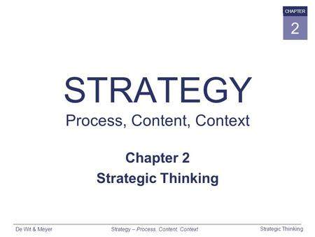 Strategy – Process, Content, Context Strategic Thinking De Wit & Meyer CHAPTER 2 STRATEGY Process, Content, Context Chapter 2 Strategic Thinking.