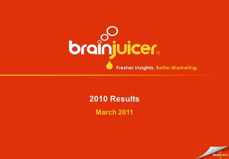 1 2010 Results March 2011. 2 Disclaimer The information in this presentation does not constitute or form any part of, and should not be construed as,
