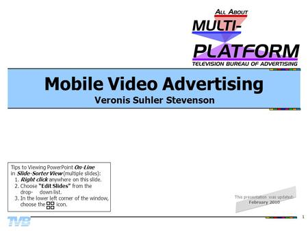 1 Mobile Video Advertising Veronis Suhler Stevenson Tips to Viewing PowerPoint On-Line in Slide-Sorter View (multiple slides): 1.Right click anywhere on.