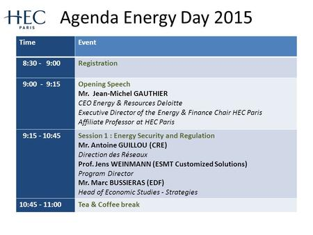 Agenda Energy Day 2015 TimeEvent 8:30 - 9:00Registration 9:00 - 9:15Opening Speech Mr. Jean-Michel GAUTHIER CEO Energy & Resources Deloitte Executive Director.