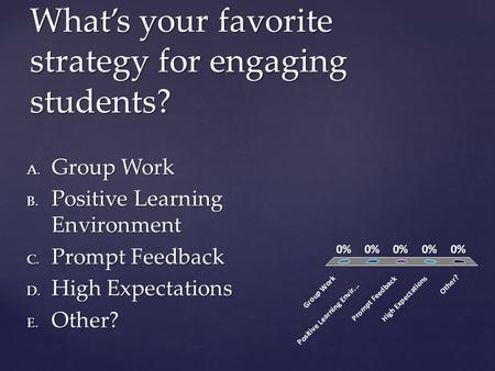 What's your favorite strategy for engaging students? A. Group Work B. Positive Learning Environment C. Prompt Feedback D. High Expectations E. Other?