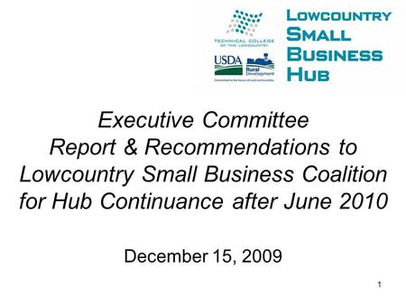 Executive Committee Report & Recommendations to Lowcountry Small Business Coalition for Hub Continuance after June 2010 December 15, 2009 1.