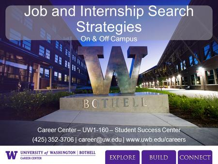 Career Center – UW1-160 – Student Success Center (425) 352-3706 | |  Job and Internship Search Strategies On & Off Campus.
