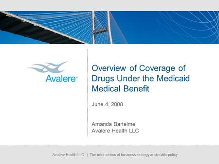 Avalere Health LLC | The intersection of business strategy and public policy Overview of Coverage of Drugs Under the Medicaid Medical Benefit June 4, 2008.