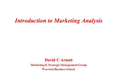 Introduction to Marketing Analysis