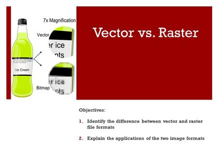 Vector vs. Raster Objectives: 1.Identify the difference between vector and raster file formats 2.Explain the applications of the two image formats.