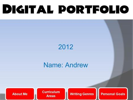 2012 Name: Andrew About Me Curriculum Areas Writing GenresPersonal Goals.
