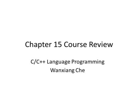 C/C++ Language Programming