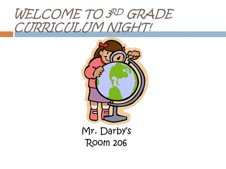 WELCOME TO 3RD GRADE CURRICULUM NIGHT!