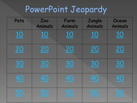 PowerPoint Jeopardy Pets Zoo Animals Farm Animals
