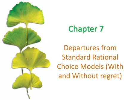 Departures from Standard Rational Choice Models (With and Without regret)