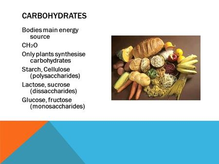 Bodies main energy source CH 2 O Only plants synthesise carbohydrates Starch, Cellulose (polysaccharides) Lactose, sucrose (dissaccharides) Glucose, fructose.