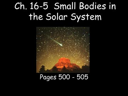Ch Small Bodies in the Solar System
