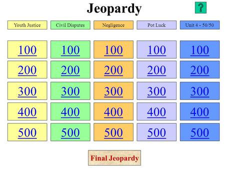 Jeopardy 100 200 300 400 500 100 200 300 400 500 100 200 300 400 500 100 200 300 400 500 100 200 300 400 500 Youth JusticeCivil DisputesNegligencePot.