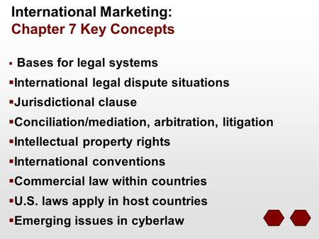 International Marketing: Chapter 7 Key Concepts  Bases for legal systems  International legal dispute situations  Jurisdictional clause  Conciliation/mediation,