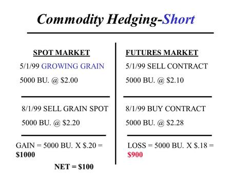 Commodity Hedging-Short SPOT MARKETFUTURES MARKET 5/1/99 GROWING GRAIN 5000 $2.00 5/1/99 SELL CONTRACT 5000 $2.10 8/1/99 SELL GRAIN SPOT 5000.