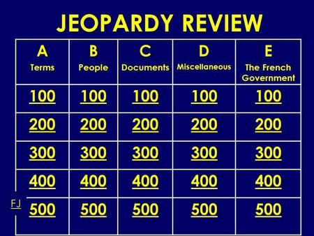 JEOPARDY REVIEW A Terms B People C Documents D Miscellaneous E The French Government 100 200 300 400 500 FJ.