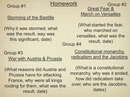Homework Group #2 Group #1 Great Fear & March on Versailles