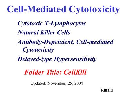 Cell-Mediated Cytotoxicity Cytotoxic T-Lymphocytes Natural Killer Cells Antibody-Dependent, Cell-mediated Cytotoxicity Delayed-type Hypersensitivity Folder.