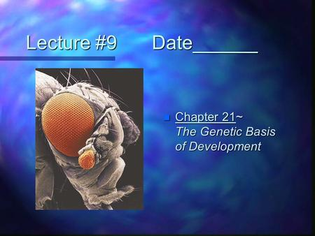 Lecture #9		Date______ Chapter 21~	 The Genetic Basis of Development.