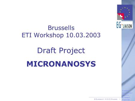 © Euresearch, 10.03.03, Brussels 1 Euresearch Swiss Information Network for EU Research Programmes Brussells ETI Workshop 10.03.2003 Draft Project MICRONANOSYS.