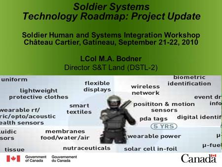 Soldier Systems Technology Roadmap: Project Update Soldier Human and Systems Integration Workshop Château Cartier, Gatineau, September 21-22, 2010 LCol.