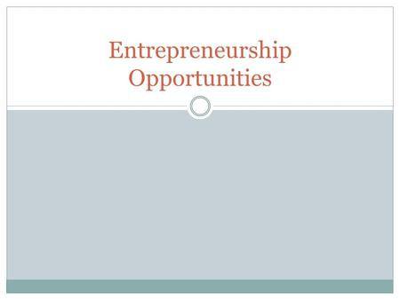 Entrepreneurship Opportunities. Checkpoint Describe different types of entrepreneurial businesses.