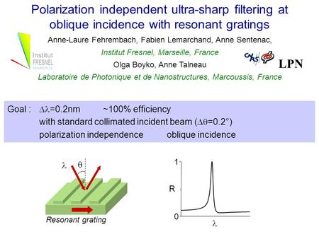 Polarization independent ultra-sharp filtering at oblique incidence with resonant gratings Anne-Laure Fehrembach, Fabien Lemarchand, Anne Sentenac, Institut.