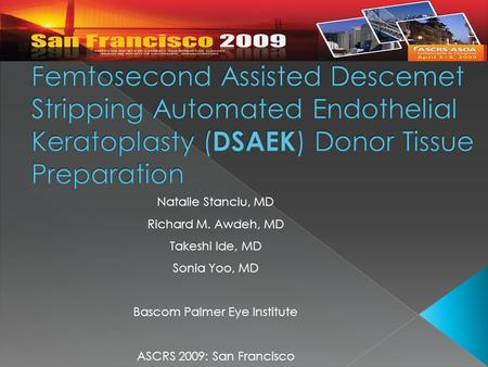 Natalie Stanciu, MD Richard M. Awdeh, MD Takeshi Ide, MD Sonia Yoo, MD Bascom Palmer Eye Institute ASCRS 2009: San Francisco.