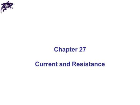 Chapter 27 Current and Resistance. Electric Current The electric current I is the rate of flow of charge through some region of space The SI unit of current.