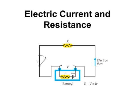 Electric Current and Resistance. Electric current is the rate of flow of charge through a conductor: Unit of electric current: the ampere, A. 1 A = 1.