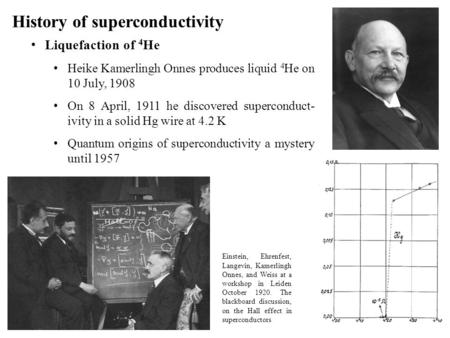 History of superconductivity Liquefaction of 4 He Heike Kamerlingh Onnes produces liquid 4 He on 10 July, 1908 On 8 April, 1911 he discovered superconduct-