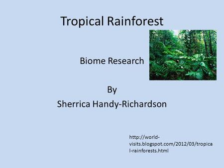 Tropical Rainforest Biome Research By Sherrica Handy-Richardson  visits.blogspot.com/2012/03/tropica l-rainforests.html.