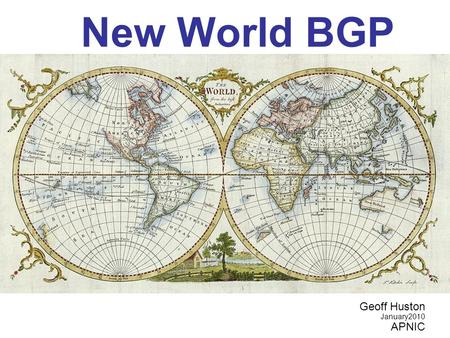 New World BGP Geoff Huston January2010 APNIC. 16-bit AS Number Map.