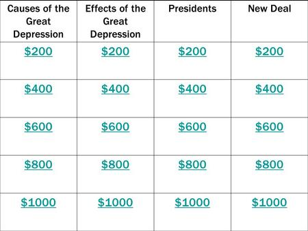 Causes of the Great Depression Effects of the Great Depression PresidentsNew Deal $200 $400 $600 $800 $1000.