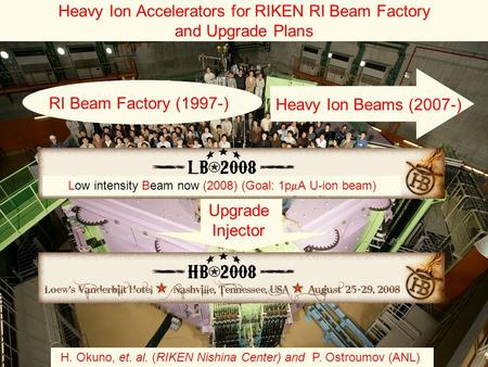 Heavy Ion Accelerators for RIKEN RI Beam Factory and Upgrade Plans H. Okuno, et. al. (RIKEN Nishina Center) and P. Ostroumov (ANL) Upgrade Injector Low.