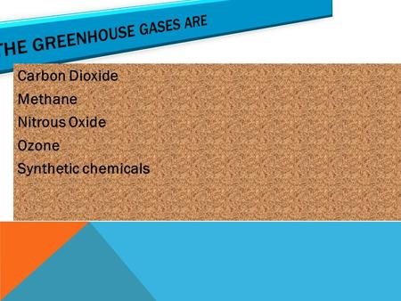 Carbon Dioxide Methane Nitrous Oxide Ozone Synthetic chemicals.