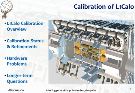 Alan Watson Atlas Trigger Workshop, Amsterdam, 18-22/10/10 1 Calibration of L1Calo L1Calo Calibration Overview L1Calo Calibration Overview Calibration.