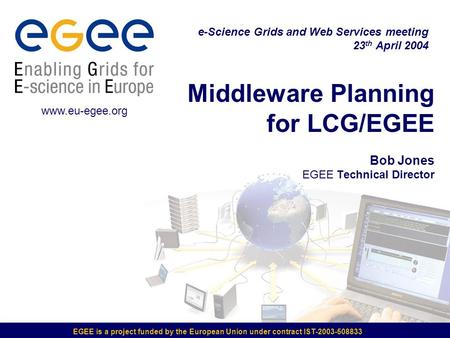 EGEE is a project funded by the European Union under contract IST-2003-508833 Middleware Planning for LCG/EGEE Bob Jones EGEE Technical Director e-Science.