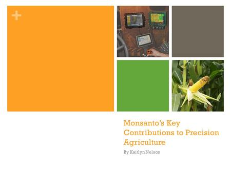 + Monsanto's Key Contributions to Precision Agriculture By Kaitlyn Nelson.
