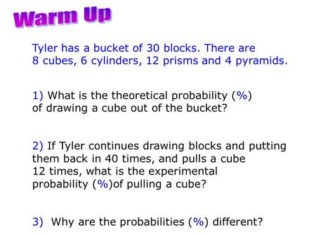 Tyler has a bucket of 30 blocks. There are 8 cubes, 6 cylinders, 12 prisms and 4 pyramids. 1) What is the theoretical probability (%) of drawing a cube.