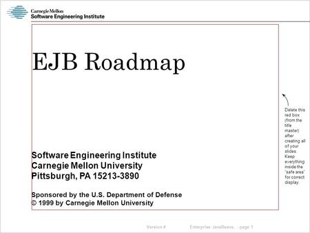 Version # Software Engineering Institute Carnegie Mellon University Pittsburgh, PA 15213-3890 Sponsored by the U.S. Department of Defense © 1999 by Carnegie.