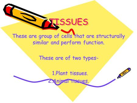 TISSUESTISSUES These are group of cells that are structurally similar and perform function. These are of two types- 1.Plant tissues. 2.Animal tissues.